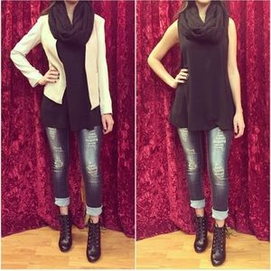 Tops - Chiffon blouse with attached scarf